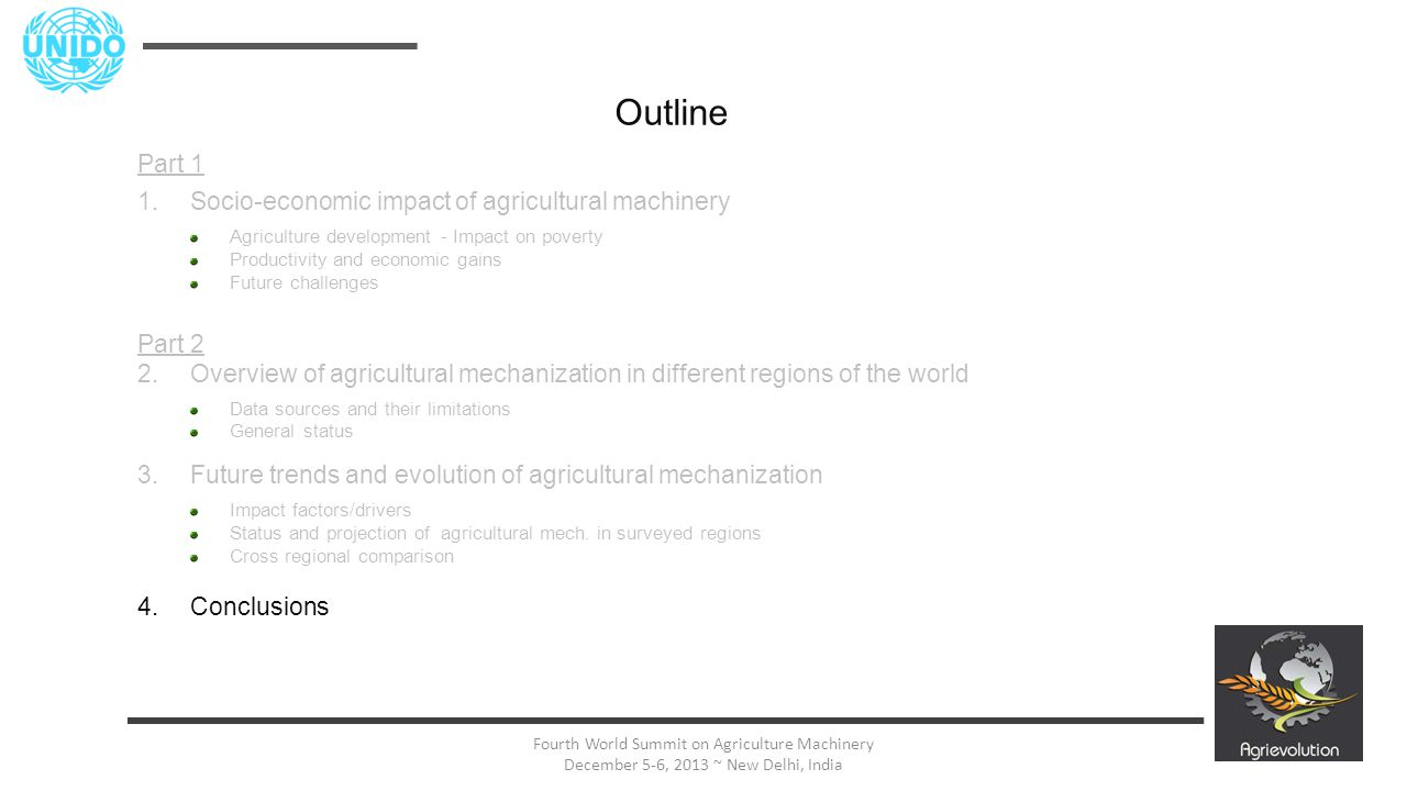 31 Fourth World Summit on Agriculture Machinery December 5-6, 2013 ~ New Delhi, India Outline Part 1 1.Socio-economic impact of agricultural machinery