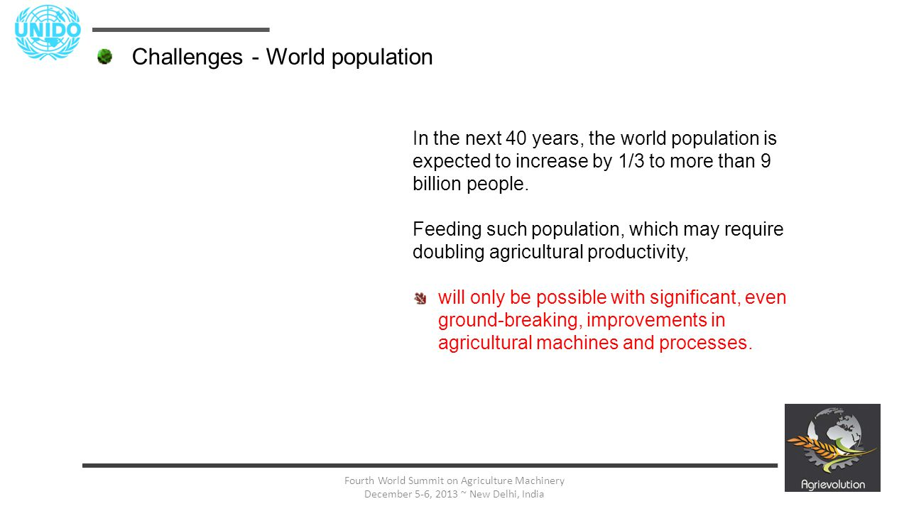 9 Fourth World Summit on Agriculture Machinery December 5-6, 2013 ~ New Delhi, India In the next 40 years, the world population is expected to increas