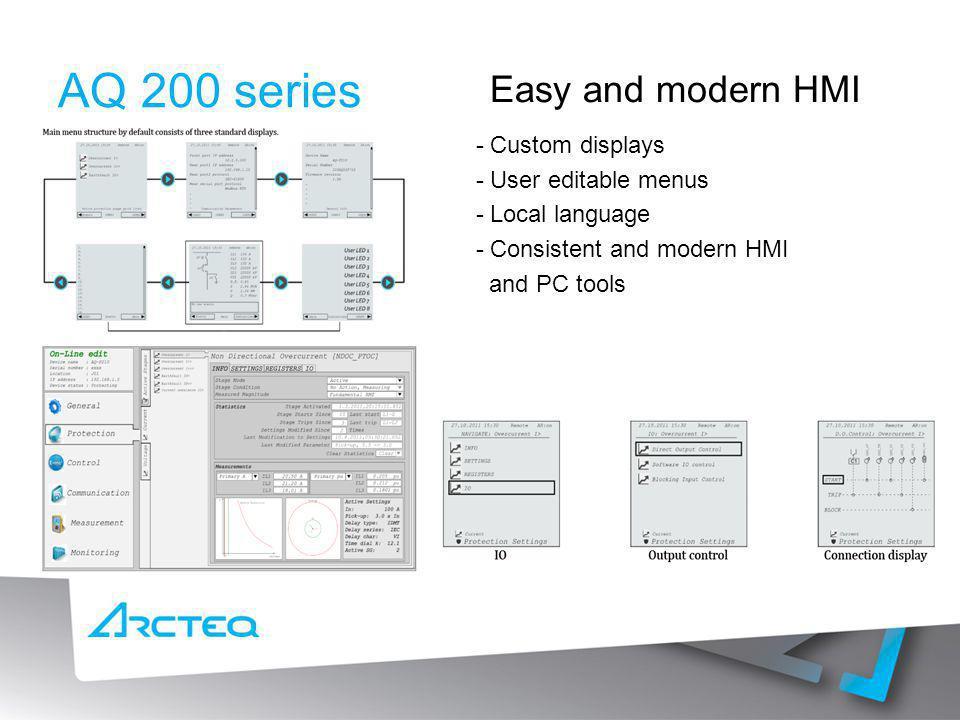AQ 200 series Easy and modern HMI - Custom displays - User editable menus - Local language - Consistent and modern HMI and PC tools