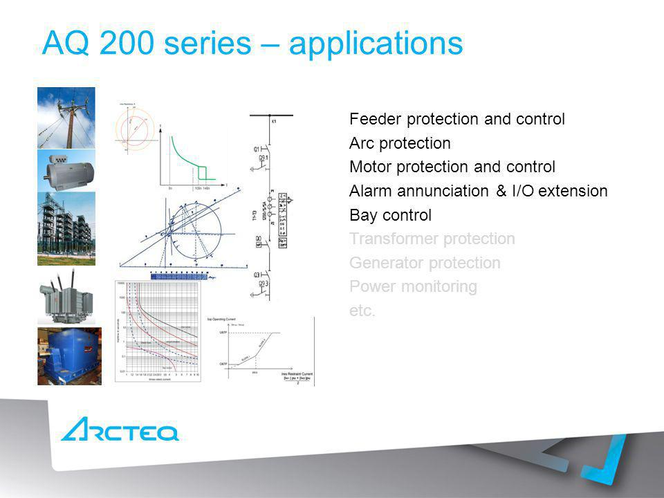 AQ 200 series – applications Feeder protection and control Arc protection Motor protection and control Alarm annunciation & I/O extension Bay control