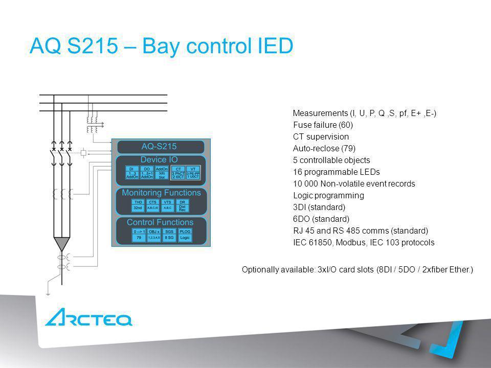 Measurements (I, U, P, Q,S, pf, E+,E-) Fuse failure (60) CT supervision Auto-reclose (79) 5 controllable objects 16 programmable LEDs 10 000 Non-volat