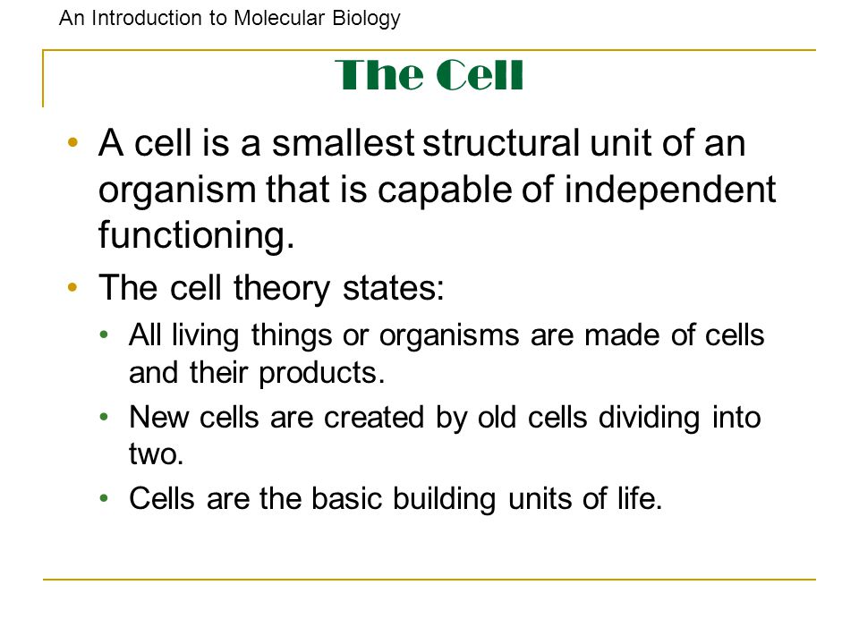An Introduction to Molecular Biology The Cell A cell is a smallest structural unit of an organism that is capable of independent functioning. The cell