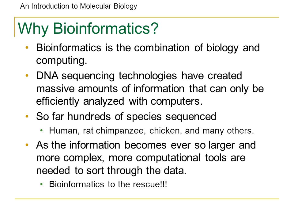 An Introduction to Molecular Biology Why Bioinformatics? Bioinformatics is the combination of biology and computing. DNA sequencing technologies have