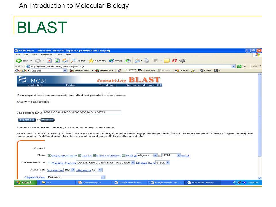 An Introduction to Molecular Biology BLAST