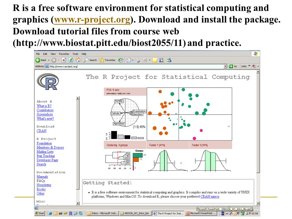 An Introduction to Molecular Biology R is a free software environment for statistical computing and graphics (www.r-project.org). Download and install