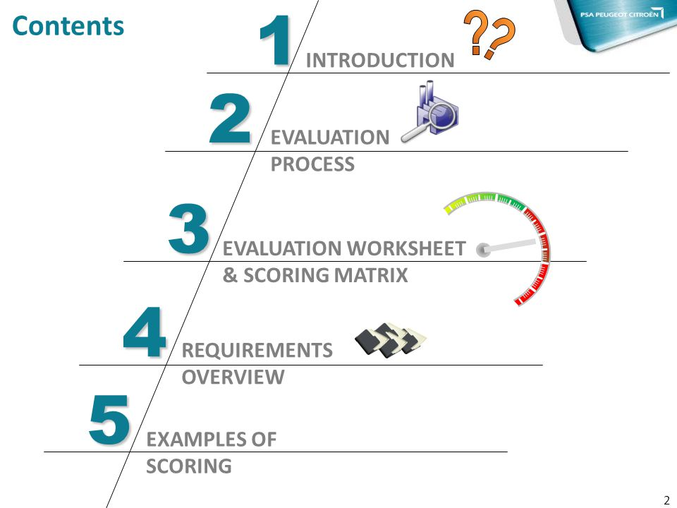 2 1 INTRODUCTION Contents 3 EVALUATION WORKSHEET & SCORING MATRIX 4 EVALUATION PROCESS 2 REQUIREMENTS OVERVIEW 5 EXAMPLES OF SCORING