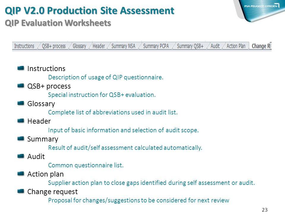 Instructions Description of usage of QIP questionnaire. QSB+ process Special instruction for QSB+ evaluation. Glossary Complete list of abbreviations