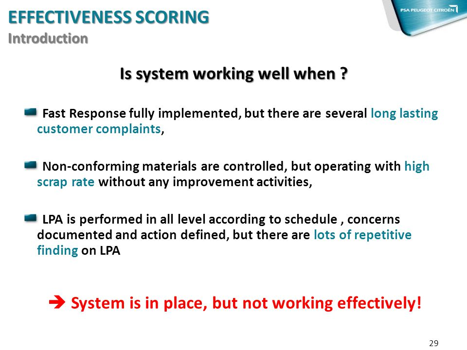 Is system working well when ? Fast Response fully implemented, but there are several long lasting customer complaints, Non-conforming materials are co