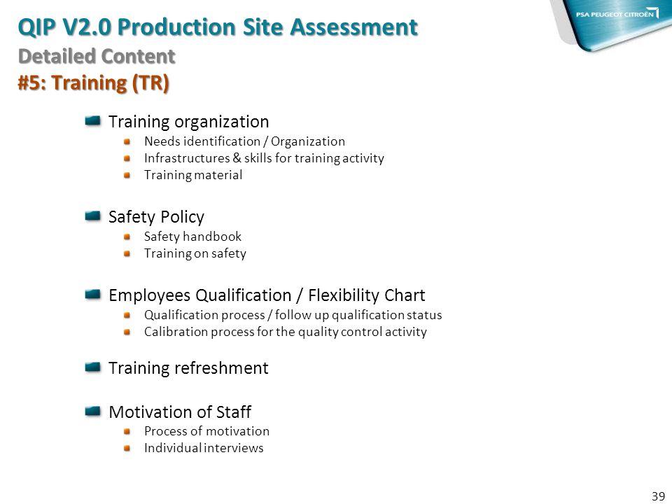 Training organization Needs identification / Organization Infrastructures & skills for training activity Training material Safety Policy Safety handbo