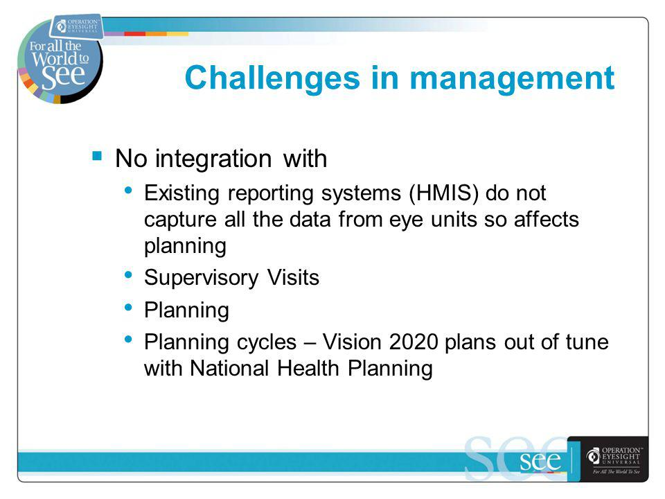 Challenges in management No integration with Existing reporting systems (HMIS) do not capture all the data from eye units so affects planning Supervisory Visits Planning Planning cycles – Vision 2020 plans out of tune with National Health Planning
