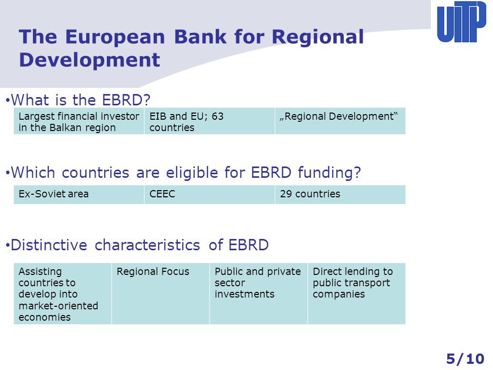 The EBRD and the financing of Public Transport Examples of investment The European Bank for Regional Development LIBOR or EURIBORAnti corruption measurements Up to 35% of requested capital for private sector Public service conract 1370/2007 Gross contacts – net contracts Corporate Development Programmes Dubrovnik & Pula (Croatia)Kaunas (Lithuania) Bus fleet renewal50 new buses, spare parts, workshop Sustainable transport strategy for historic cities Direct loan to (municipal) bus company: 10 Mio.