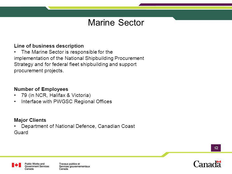 12 Marine Sector Line of business description The Marine Sector is responsible for the implementation of the National Shipbuilding Procurement Strateg
