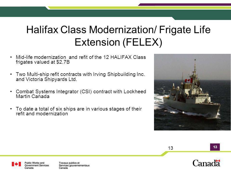 13 Halifax Class Modernization/ Frigate Life Extension (FELEX) Mid-life modernization and refit of the 12 HALIFAX Class frigates valued at $2.7B Two M