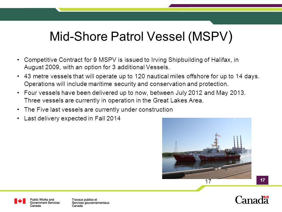 17 Mid-Shore Patrol Vessel (MSPV ) Competitive Contract for 9 MSPV is issued to Irving Shipbuilding of Halifax, in August 2009, with an option for 3 a