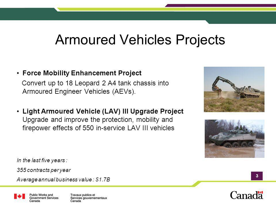 3 Armoured Vehicles Projects Force Mobility Enhancement Project Convert up to 18 Leopard 2 A4 tank chassis into Armoured Engineer Vehicles (AEVs). Lig