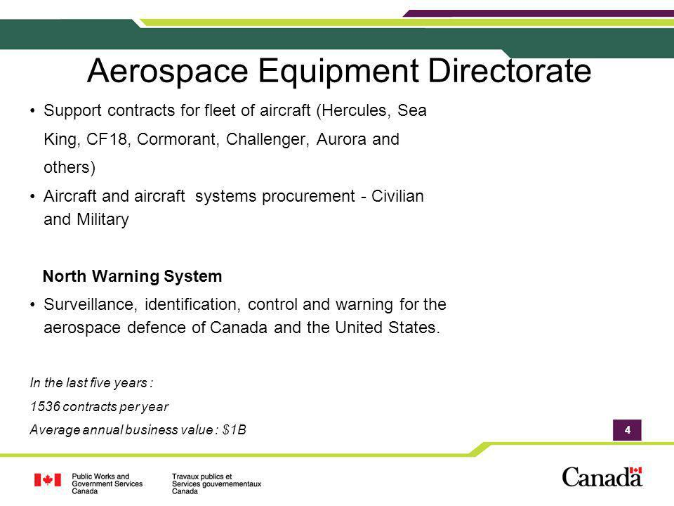 4 Aerospace Equipment Directorate Support contracts for fleet of aircraft (Hercules, Sea King, CF18, Cormorant, Challenger, Aurora and others) Aircraf