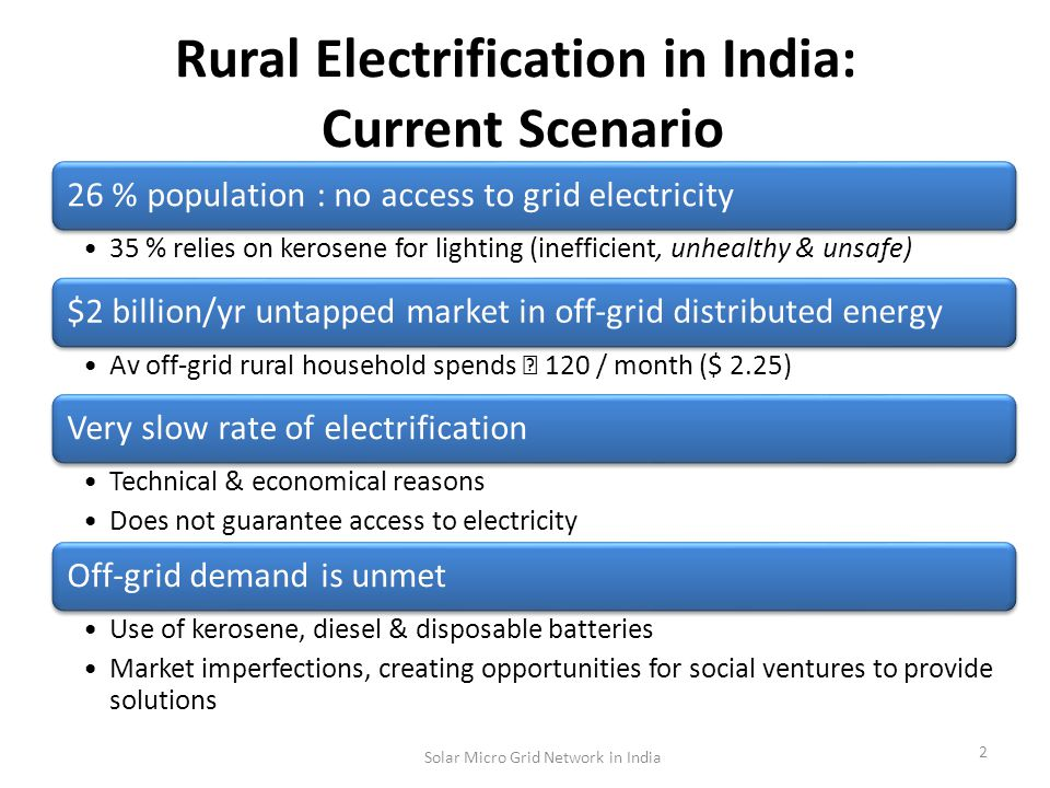 Rural Electrification in India: Current Scenario 26 % population : no access to grid electricity 35 % relies on kerosene for lighting (inefficient, unhealthy & unsafe) $2 billion/yr untapped market in off-grid distributed energy Av off-grid rural household spends 120 / month ($ 2.25) Very slow rate of electrification Technical & economical reasons Does not guarantee access to electricity Off-grid demand is unmet Use of kerosene, diesel & disposable batteries Market imperfections, creating opportunities for social ventures to provide solutions 2 Solar Micro Grid Network in India