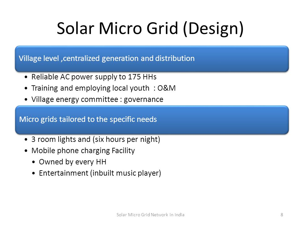 Implementation Process IdentificationSocial ProcessInstallationTraining 9Solar Micro Grid Network in India