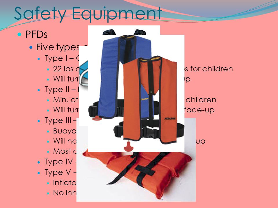 Safety Equipment PFDs Five types of PFDs Type I – Offshore Life jacket 22 lbs of buoyancy for adults / 11 lbs for children Will turn unconscious perso