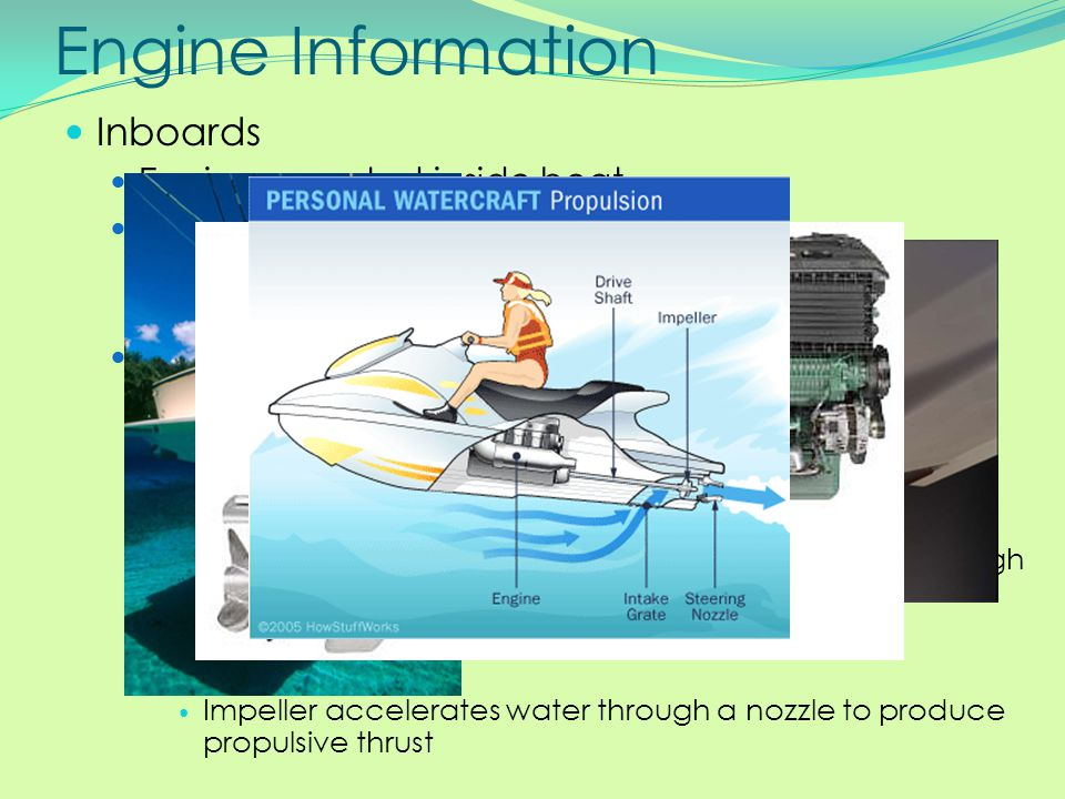 Engine Information Inboards Engine mounted inside boat Gasoline or diesel Diesel is safer than gas – less risk for fire Gas inboards MUST have a backf