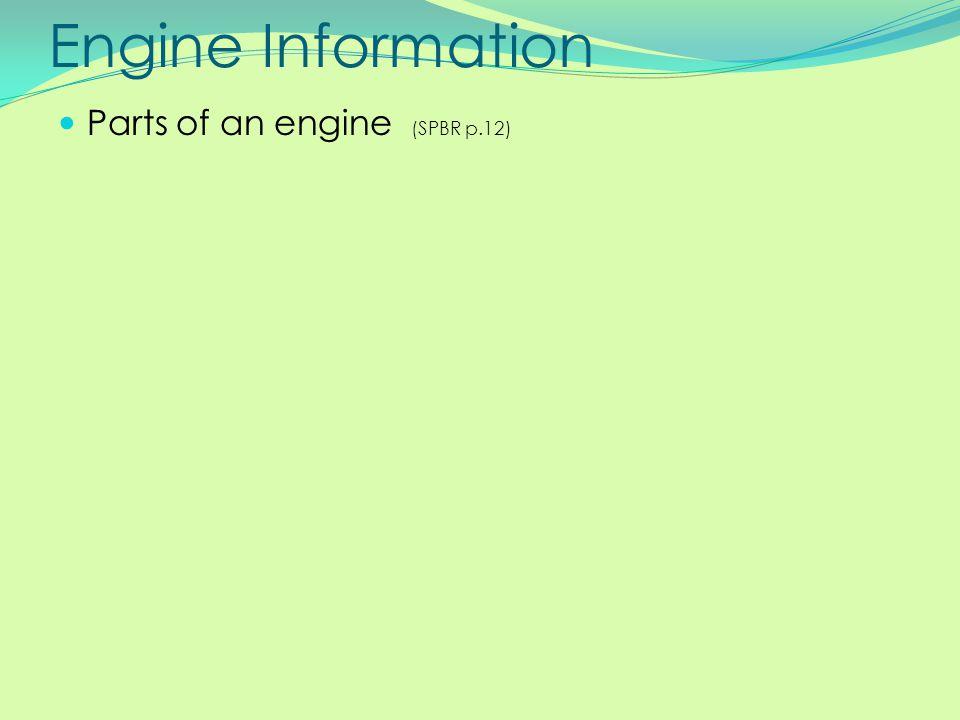 Engine Information Parts of an engine (SPBR p.12)