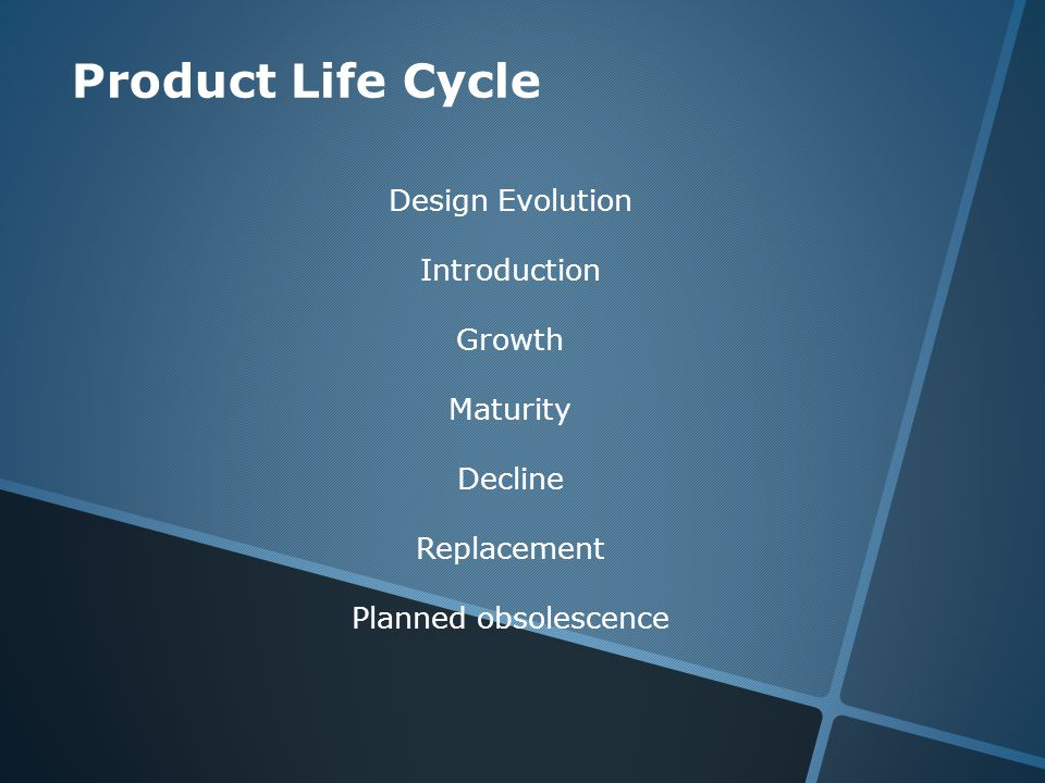 Product Life Cycle Design Evolution Introduction Growth Maturity Decline Replacement Planned obsolescence