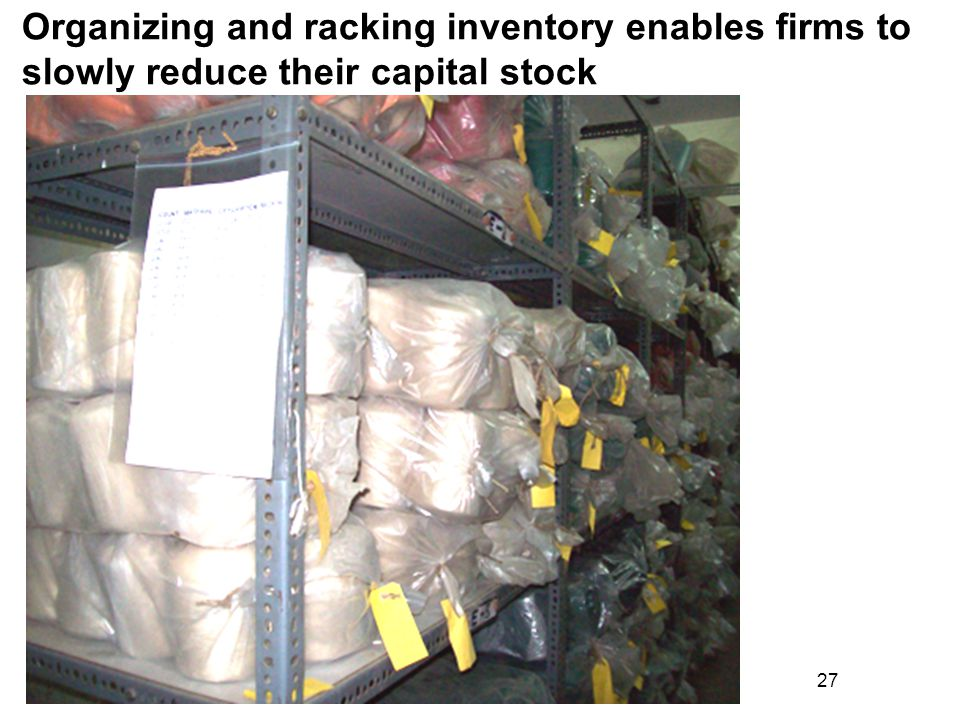 27 Organizing and racking inventory enables firms to slowly reduce their capital stock
