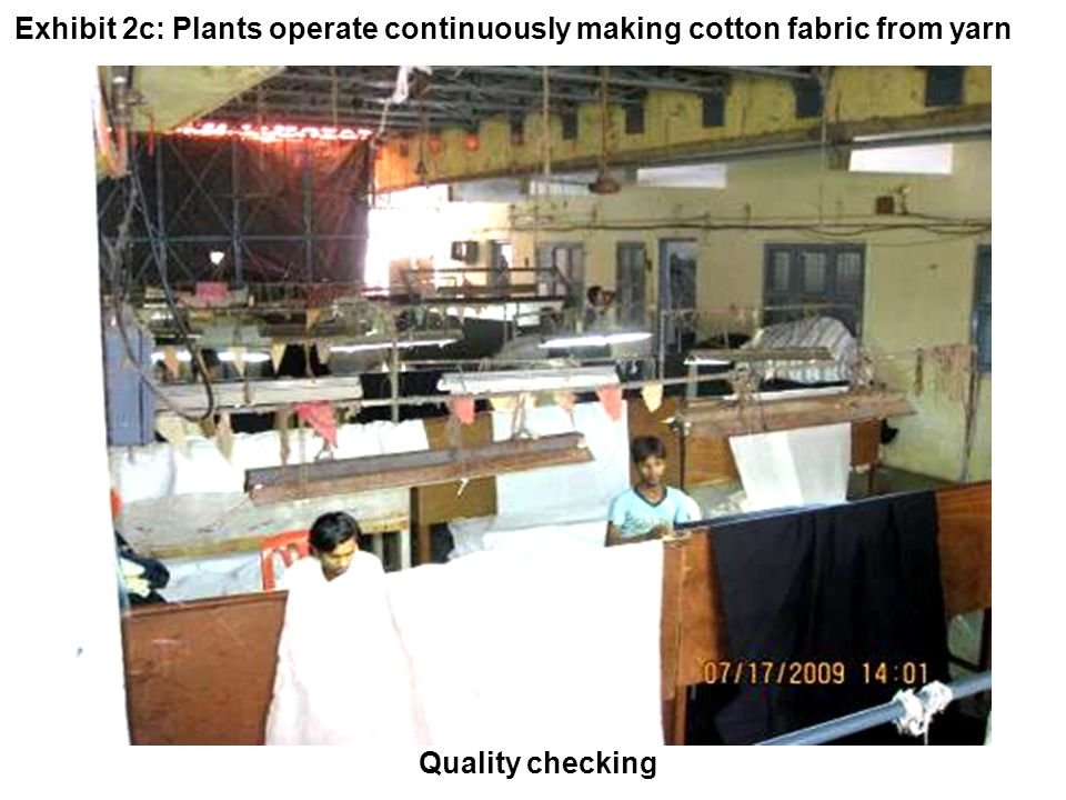 Quality checking Exhibit 2c: Plants operate continuously making cotton fabric from yarn