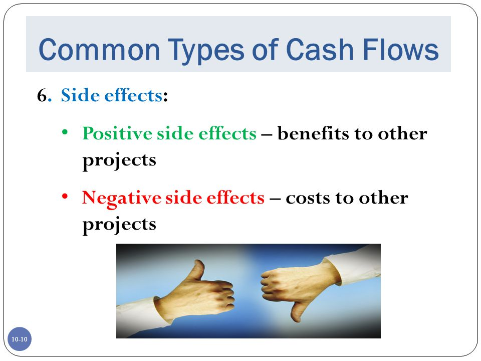 10-10 Common Types of Cash Flows 6. Side effects: Positive side effects – benefits to other projects Negative side effects – costs to other projects