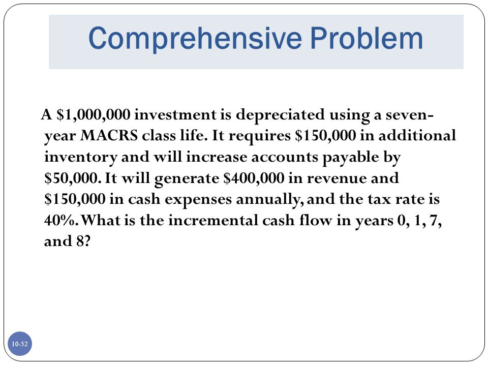 10-52 Comprehensive Problem A $1,000,000 investment is depreciated using a seven- year MACRS class life. It requires $150,000 in additional inventory