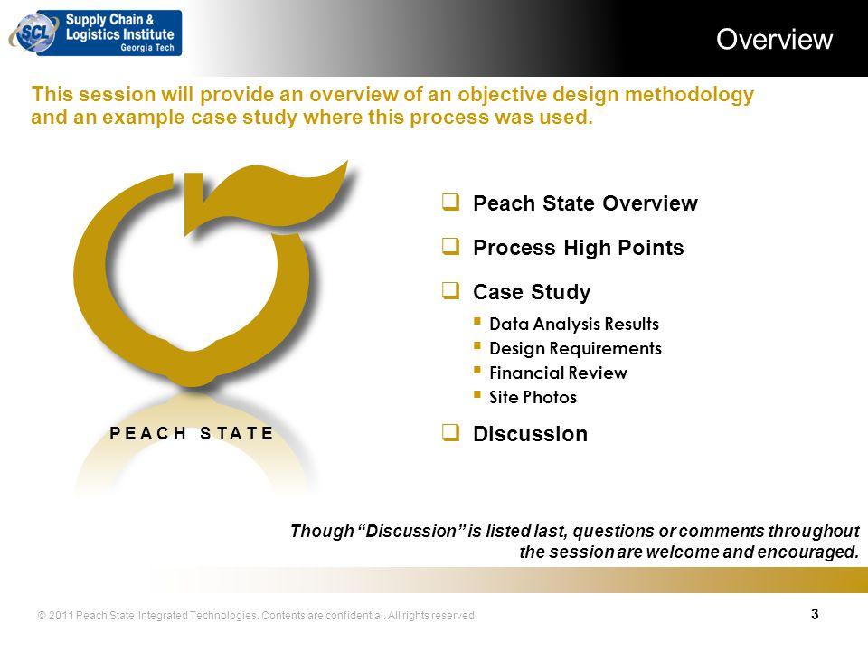 © 2011 Peach State Integrated Technologies. Contents are confidential. All rights reserved. Distribution Center Design and Integration Case Study – He