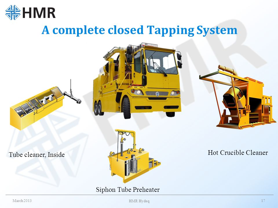 A complete closed Tapping System March 2013 HMR Hydeq 17 Tube cleaner, Inside Siphon Tube Preheater Hot Crucible Cleaner
