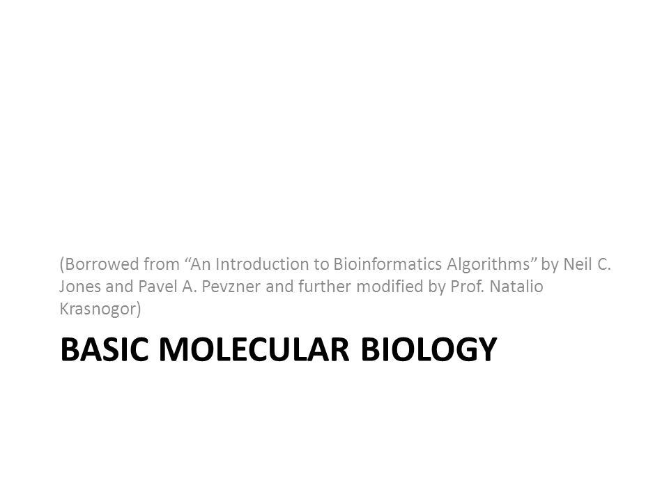 BASIC MOLECULAR BIOLOGY (Borrowed from An Introduction to Bioinformatics Algorithms by Neil C. Jones and Pavel A. Pevzner and further modified by Prof