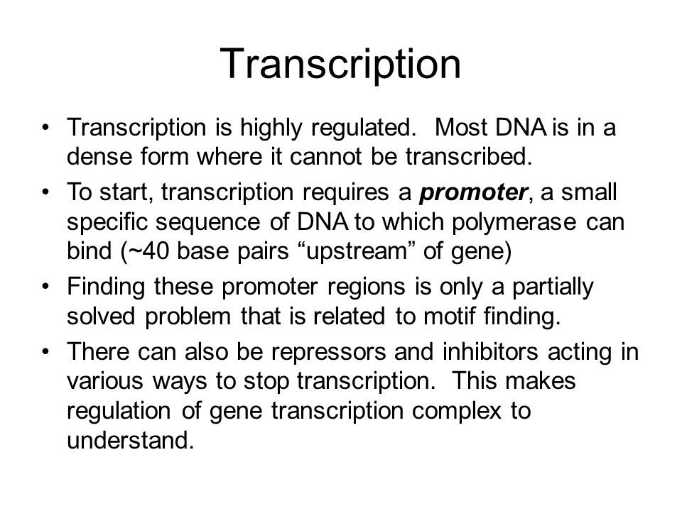 Transcription Transcription is highly regulated. Most DNA is in a dense form where it cannot be transcribed. To start, transcription requires a promot