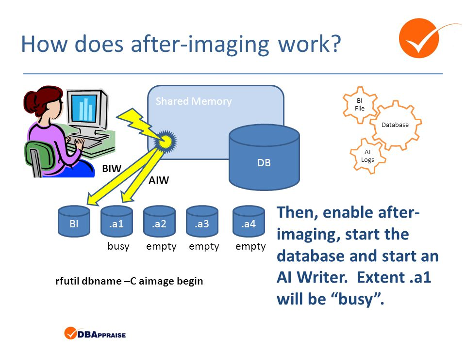 How does after-imaging work? Database BI File AI Logs BI.a1.a4.a3.a2 Shared Memory DB BIW AIW rfutil dbname –C aimage begin busyempty Then, enable aft