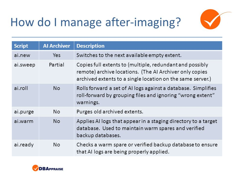 How do I manage after-imaging? ScriptAI ArchiverDescription ai.newYesSwitches to the next available empty extent. ai.sweepPartialCopies full extents t
