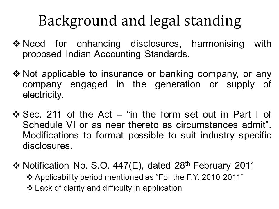 Background and legal standing Amendment to Notification No.