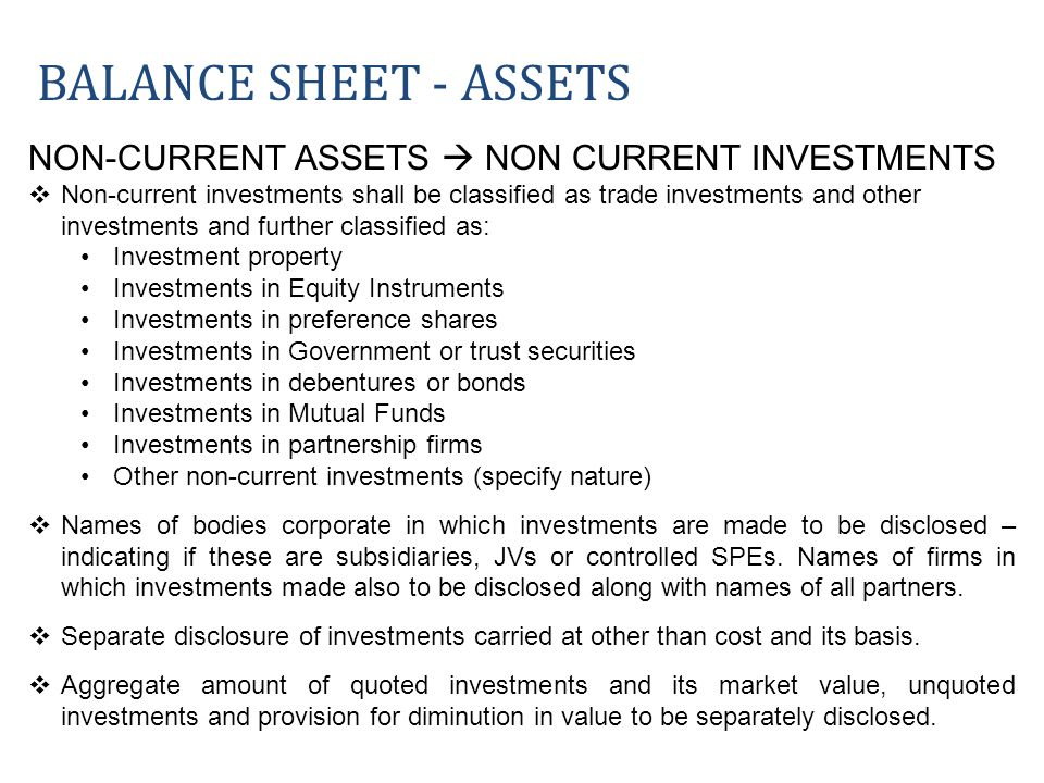 NON-CURRENT ASSETS NON CURRENT INVESTMENTS Non-current investments shall be classified as trade investments and other investments and further classifi