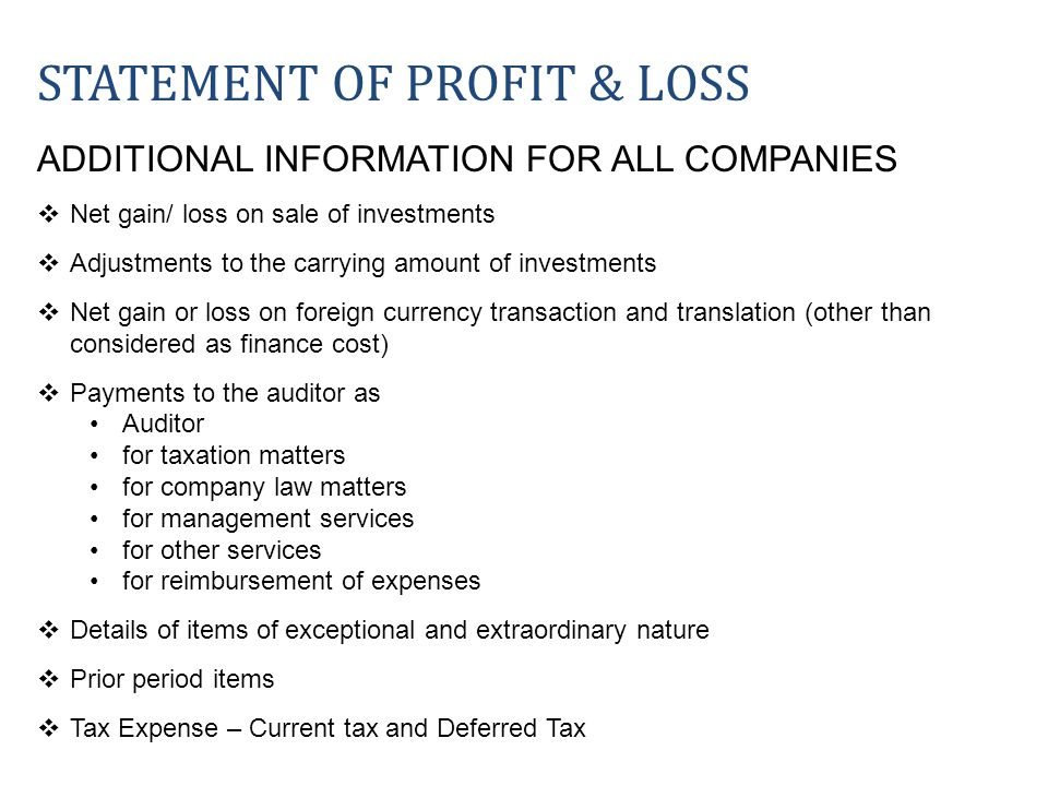 STATEMENT OF PROFIT & LOSS ADDITIONAL INFORMATION FOR ALL COMPANIES Net gain/ loss on sale of investments Adjustments to the carrying amount of invest