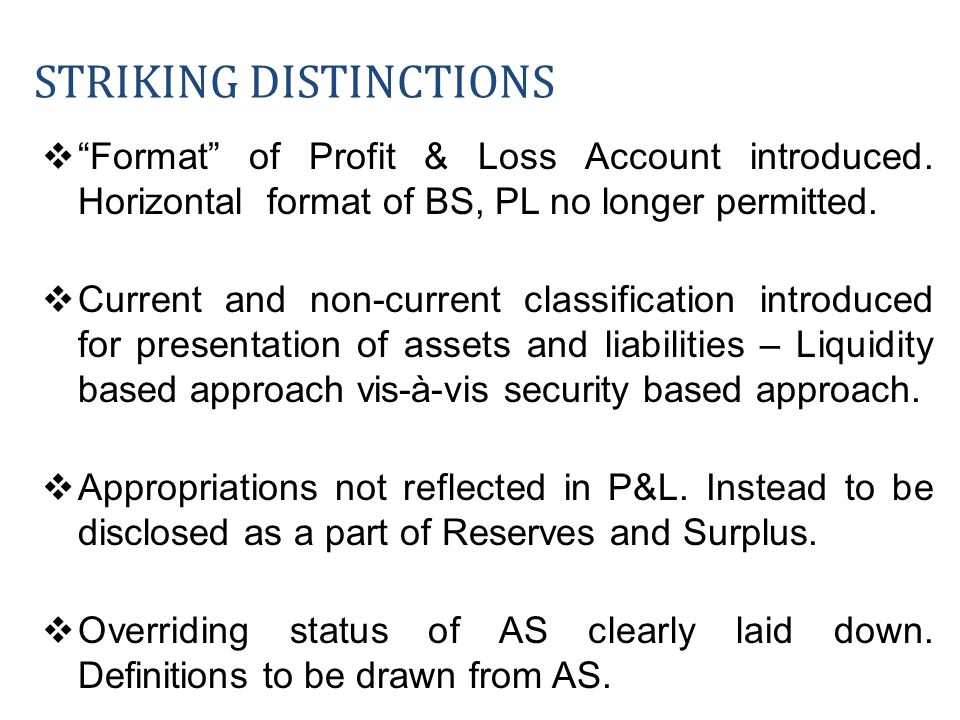 Format of Profit & Loss Account introduced. Horizontal format of BS, PL no longer permitted. Current and non-current classification introduced for pre