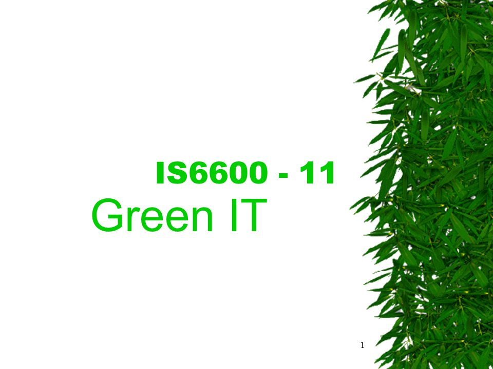 1 IS6600 - 11 Green IT