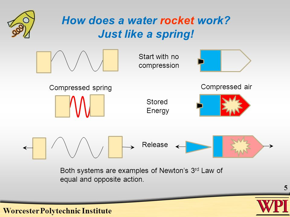 Worcester Polytechnic Institute 5 How does a water rocket work? Just like a spring! Stored Energy Both systems are examples of Newtons 3 rd Law of equ