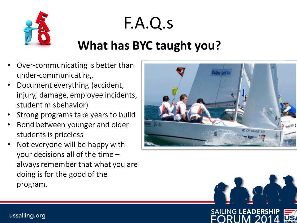 F.A.Q.s What has BYC taught you. Over-communicating is better than under-communicating.
