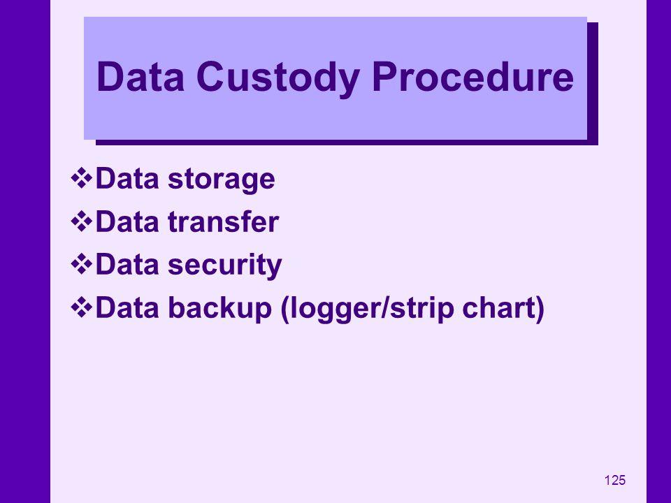125 Data Custody Procedure Data storage Data transfer Data security Data backup (logger/strip chart)