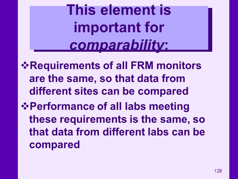 128 This element is important for comparability: Requirements of all FRM monitors are the same, so that data from different sites can be compared Perf
