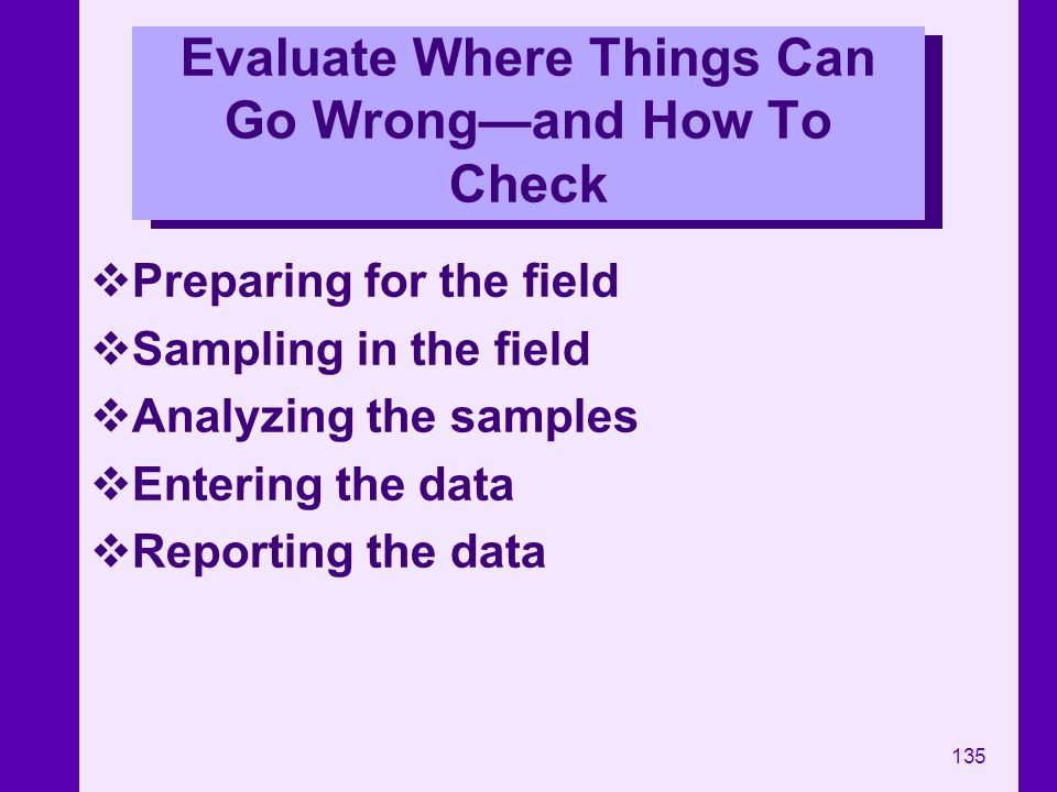 135 Evaluate Where Things Can Go Wrongand How To Check Preparing for the field Sampling in the field Analyzing the samples Entering the data Reporting