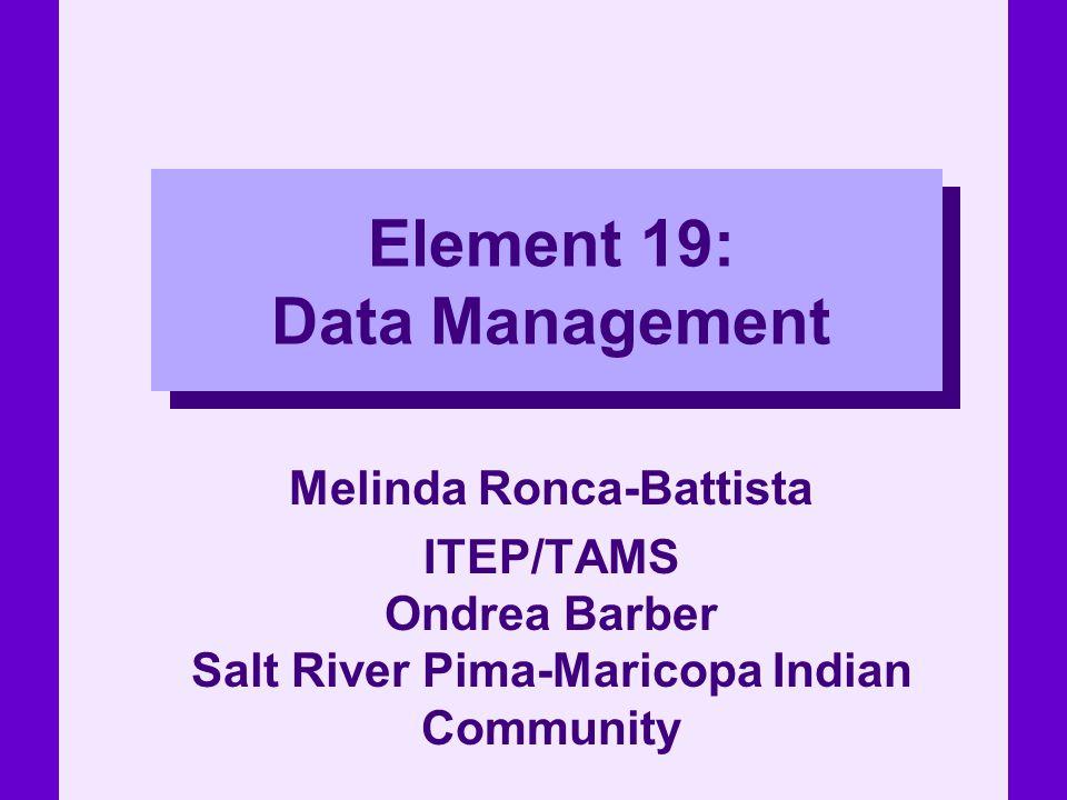 Element 19: Data Management Melinda Ronca-Battista ITEP/TAMS Ondrea Barber Salt River Pima-Maricopa Indian Community