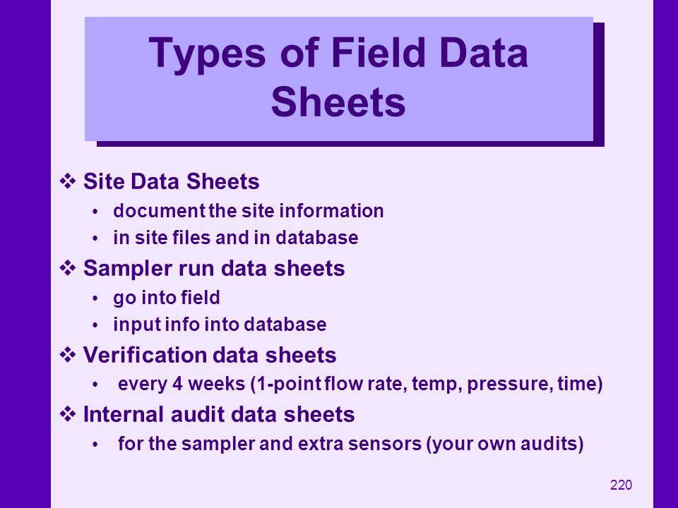 220 Types of Field Data Sheets Site Data Sheets document the site information in site files and in database Sampler run data sheets go into field inpu