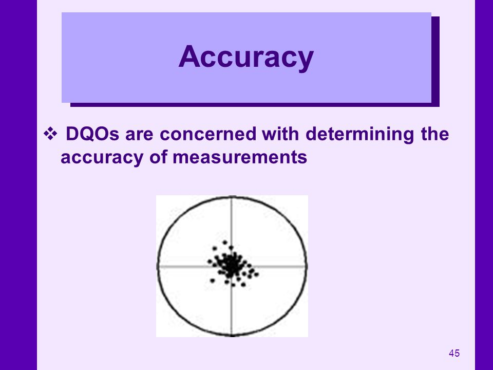 45 Accuracy DQOs are concerned with determining the accuracy of measurements