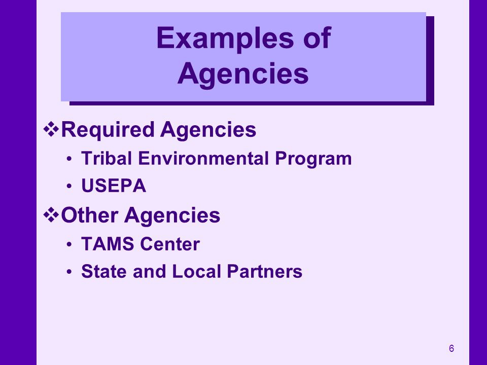 6 Examples of Agencies Required Agencies Tribal Environmental Program USEPA Other Agencies TAMS Center State and Local Partners